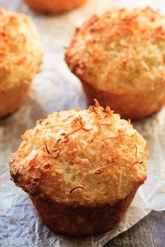 Lemon Coconut Muffins by bakaeatandrepeat: A perfect breakfast or snack, these lemon coconut muffins will be gone in no time. #Muffins Lemon #Coconut