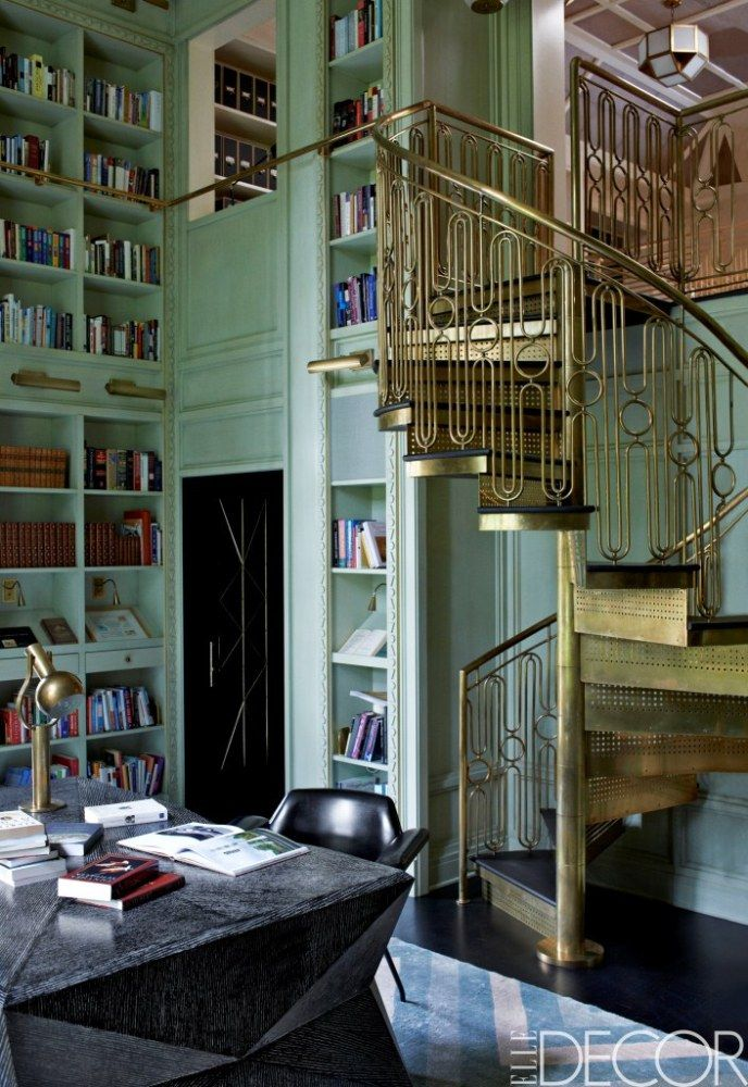 Jeff And Lara Sanderson's Mercer Island Home Featured In September's Elle Decor (PHOTOS): Spirals Staircases, Mint Green, Home Libraries, Mint Wall, Elle Decor, Book, Kelly Wearstler, Art Deco, Islands Home