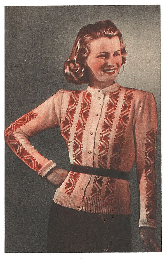 1940s Knitting Pattern for Womens Cardigan / Jacket with