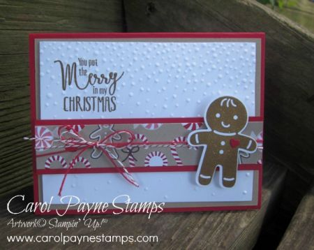 by Carol: Cookie Cutter Christmas Bundle, My Hero, Candy Cane Lane dsp, Softly Falling embossing folder - all from Stampin' Up!