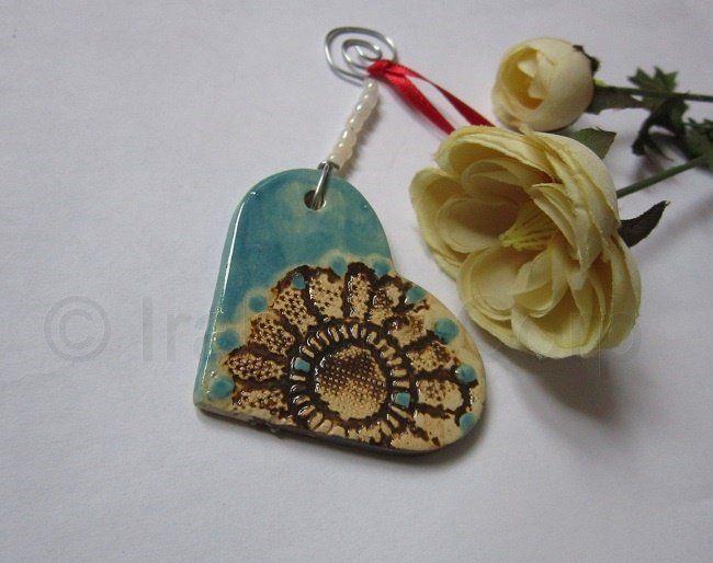 Heart+Lace+Ornament,+Pottery,+Ceramic,+by+Tulipe+Studios