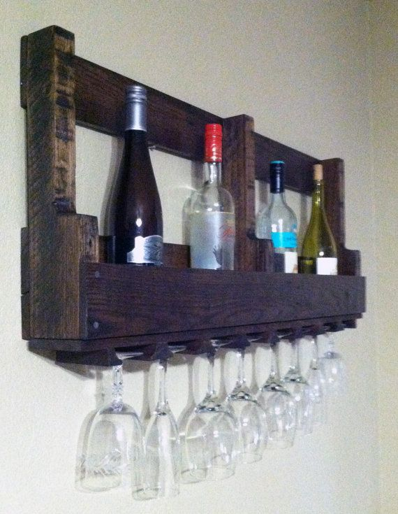 Wine rack - made out of recycled palets    http://www.etsy.com/listing/96292833/recycled-pallet-wine-rack-with-glass