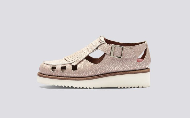 Ethel | Womens Sandal in Pink Stingray Leather with a White Wedge Sole | Grenson Shoes - Side View