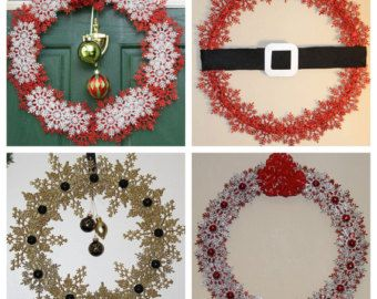 CHRISTMAS CLEARANCE - Red Gold Silver Green Christmas Snowflake Wreaths - Santas Belt - Red and White - Gold and Black - Red and Silver Bell