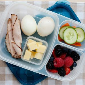 5 easy lunches using hard boiled eggs. High in protein and easy to make lunch ideas.