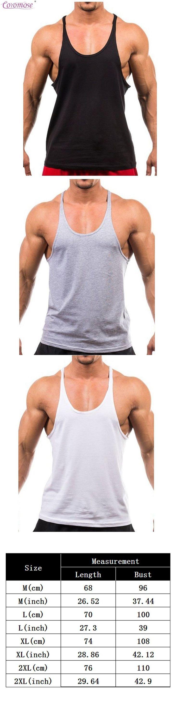 Coromose Men's Vest Basic Solid Bodybuilding Tank Tops Workout Fitness male Cotton Loose T shirt  2017 Fashion
