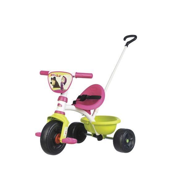 Triciclo Be Move Masha con maniglia parentale, cestino posteriore porta oggetti, tutti i tricicli Smoby hanno cinture di sicurezza, ruote liber, benna basculante, limitatore di direzione per il manubrio, struttura metallica e garanzia di qualità data dall