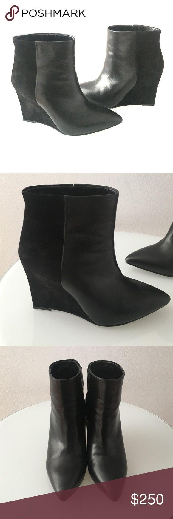 Allsaints Manifesto Boot size US 7 This chic bootie is perfect for winter, and has never been worn.  It has a wide ankle opening. Lamb skin and suede about a 4 inch heel. Allsaints Shoes Ankle Boots & Booties