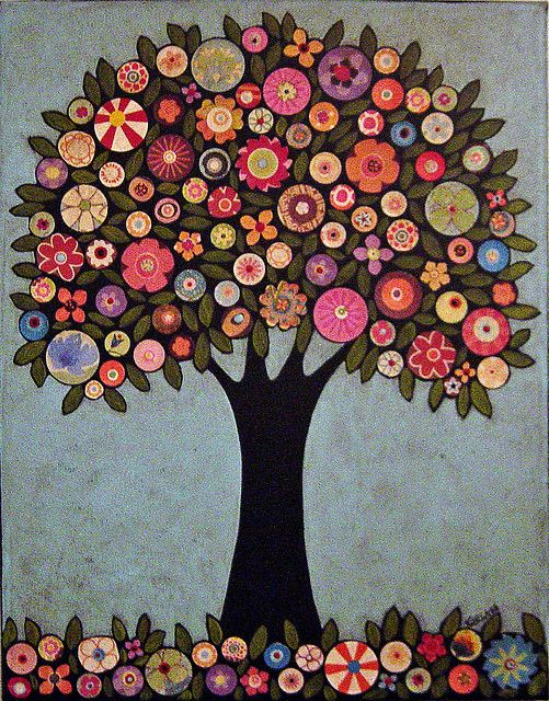Folk tree. Could use found objects, buttons, etc to build through collage. Or make a class tree with students designing their own circle/flower.