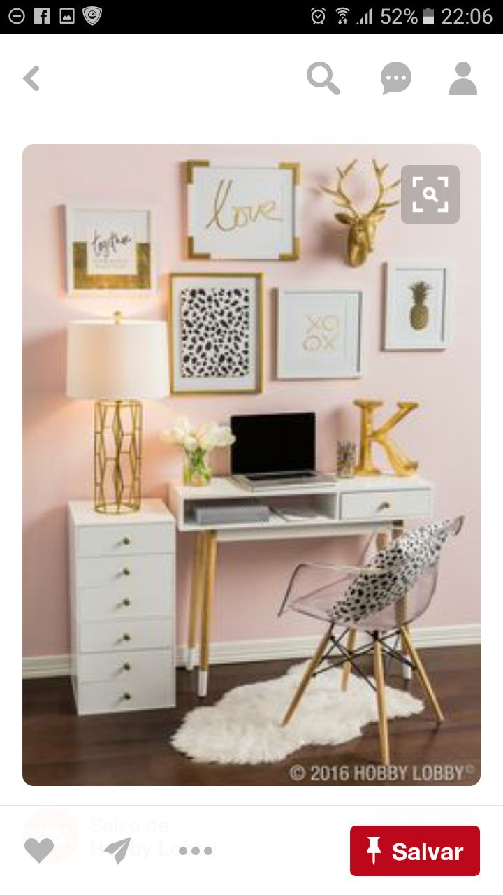 Home office, blush pink, gold, and white