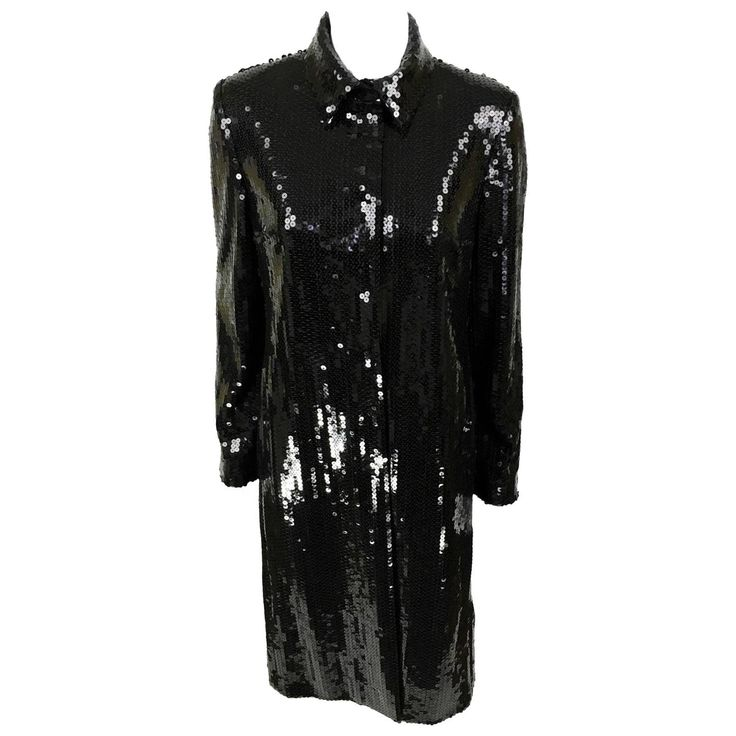 Dolce and Gabbana Black Sequin Coat - 1990s | From a collection of rare vintage coats and outerwear at https://www.1stdibs.com/fashion/clothing/coats-outerwear/