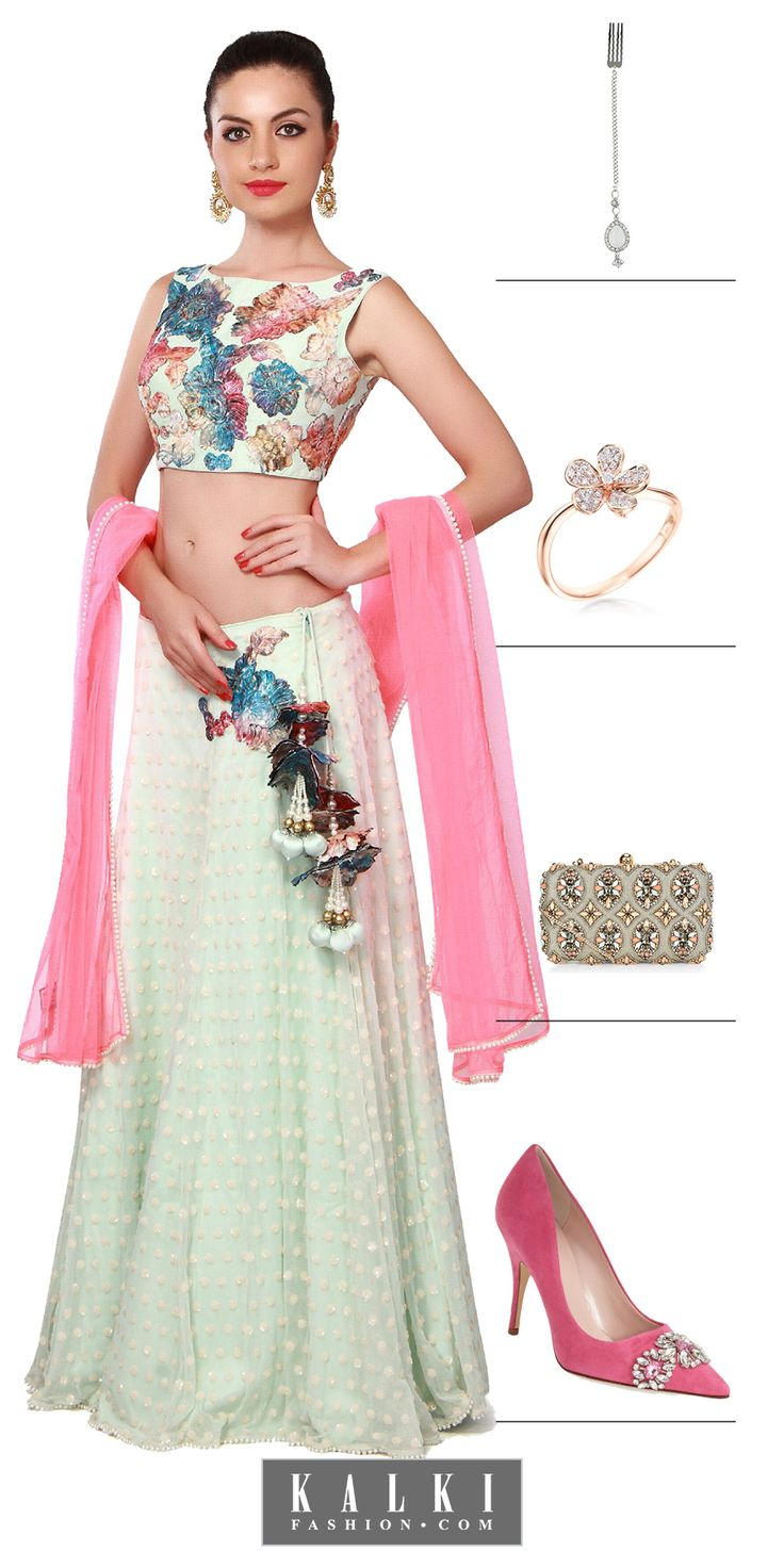 Be cocktail ready with this floral lehenga and sway in style as you party!