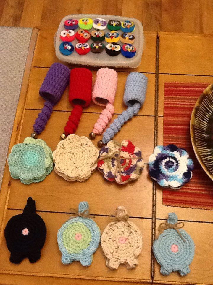 Owl pencil toppers Crochet cat toy Crochet coasters Crochet cat/dog butt coasters