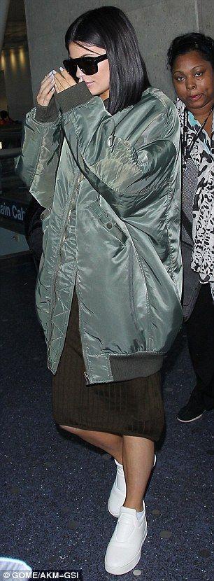 Black dress green jacket kylie