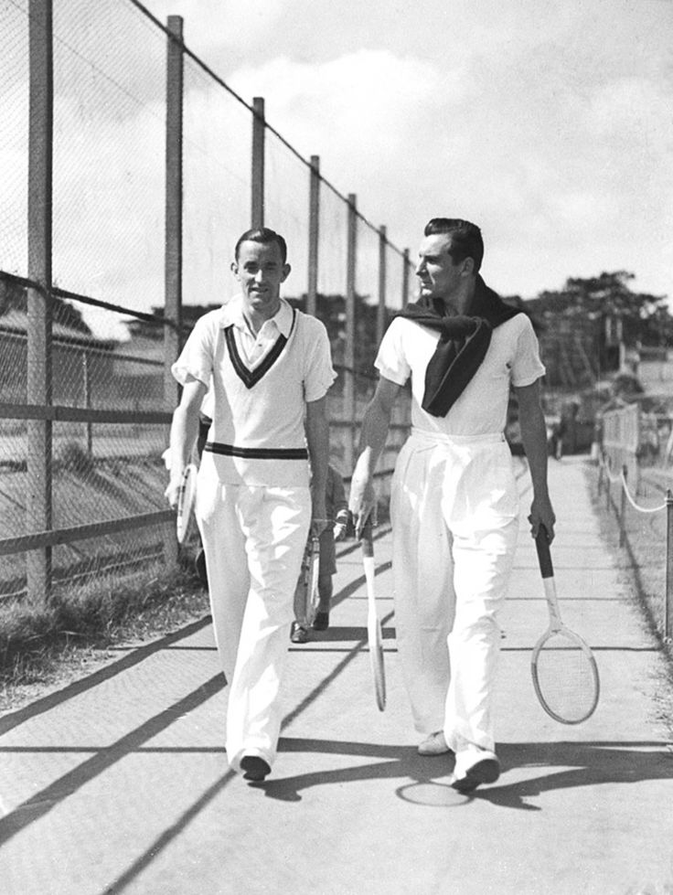 Fred Perry (right) with Pat Hughes at White City in Sydney, Australia in 1934