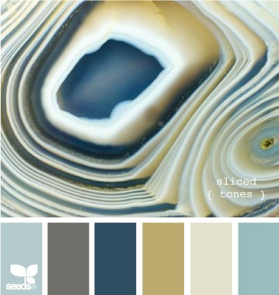 sliced {tones} - Great blues and a warm golden tan, with frosty white.  The gold is a great contrast to the blues and gray. ....Similar to what we already have in our bedroom.