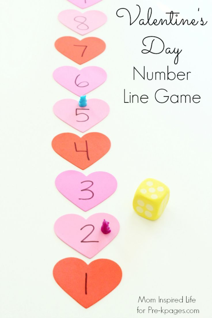 Valentines Day Heart Number Line Game for Preschool. Kids practice subitizing and one-to-one correspondence skills with this fun game!