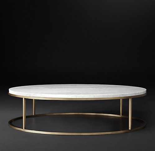 RH Modern's Nicholas Marble Round Collection - Black Marble & Burnished Brass