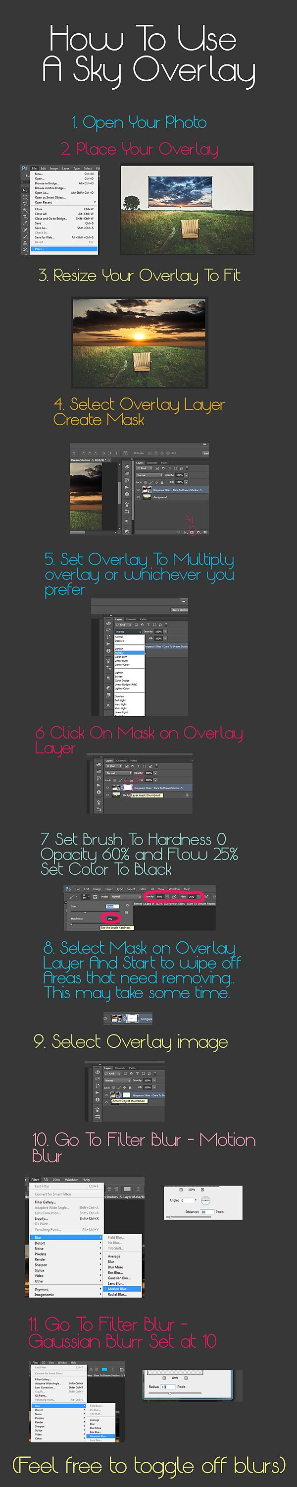 How To Use Use A Sky Overlay In Photoshop.