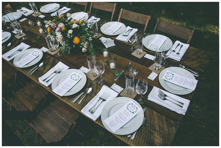 Farm tables at backyard wedding     Something Vintage Rentals:  Handmade and vintage rentals in Washington DC, Maryland, Virginia   