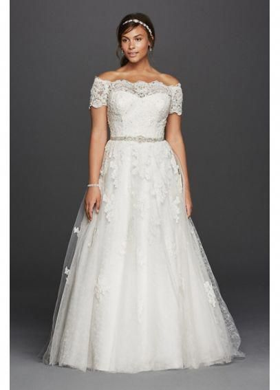 Jewel Scalloped Sleeve Plus Size Wedding Dress Davids Bridal 9wg3728 Plussizedressesideas