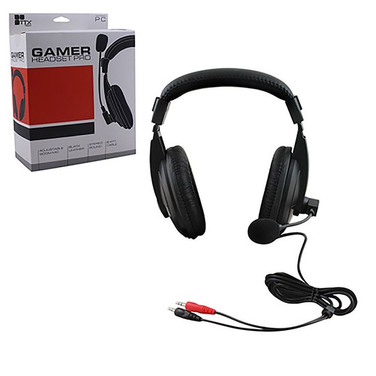 Black PC Headset w/Adjustable Boom Mic (TTX TECH)  https://www.retrogamingstores.com/gaming-accessories/good-cheap-pc-gaming-pro-headset-adjustable-boom-mic-black-by-ttx  Exactly what you need for a price you'll love.