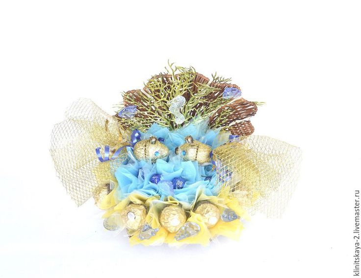 Купить Букет ракушка из конфет, композиция морская, золотая рыбка, подарок - сладкий подарок