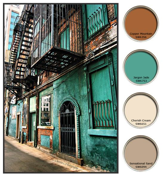 This color pallette from this street scene could be perfect for the living room.