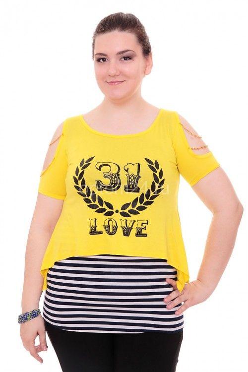 "Туника желтая ""31-Love"" А7882 Размеры: 42-52 Цена: 600 руб.  http://optom24.ru/tunika-zheltaya-31-love-a7882/  #одежда #женщинам #туники #оптом24"