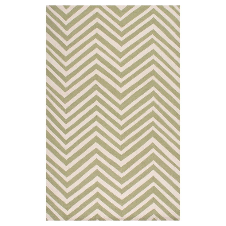 """nuLOOM 100% Wool Hand Hooked Chevron Accent Rug - Green (3' 6"""" x 5' 6"""")"""