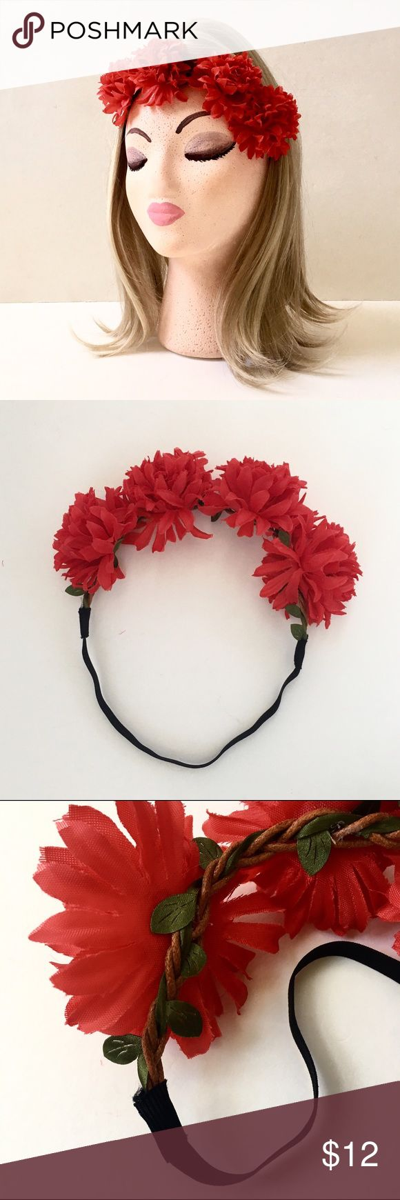 """Garland of 4 Silky Mum Blooms Upon an Elastic Band True red. Approx. 18.5"""" around. Only the black band portion stretches. Cluster of flowers all together measure approx. 8 x 2 3/4"""". Standard teen/woman size. Cute for The 4th of July❤️ NWT. Accessories Hair Accessories"""