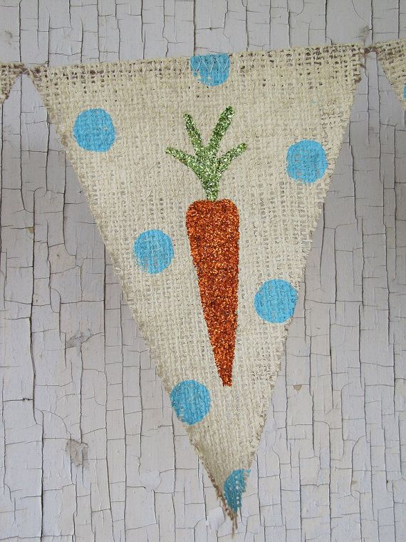 Easter+Carrots+Glittered+Burlap+Banner+by+funkyshique+on+Etsy,+$28.00