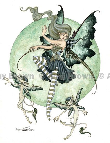 Pixie Dance Fairy ORIGINAL WATERCOLOR PAINTING by by AmyBrownArt, $210.00