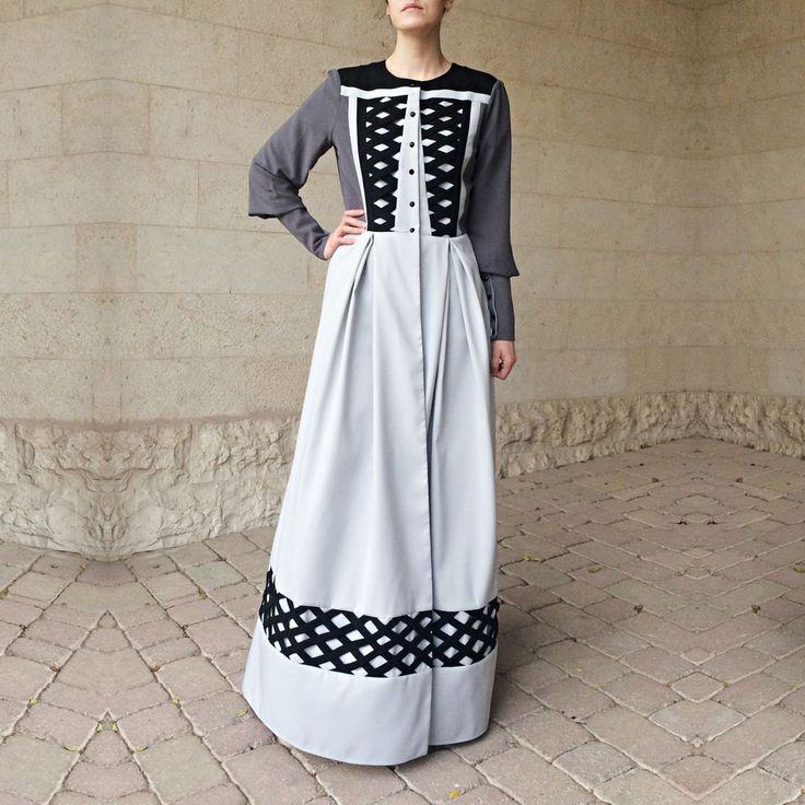 Crystals Criss-Cross Abaya - Light Grey, Dark Grey by LanaLik on Etsy