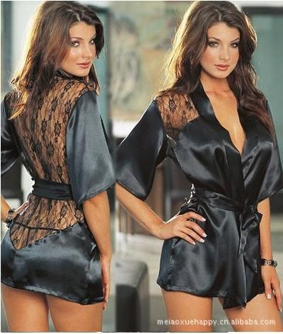 Online Cheap Women'S Black Sexy Silk Lace Underwear Kimono Gown Bath Robe Lingerie See Through Sleepwear Sauna Bathing Suit G String Plus Size By Cathywang168 | Dhgate.Com