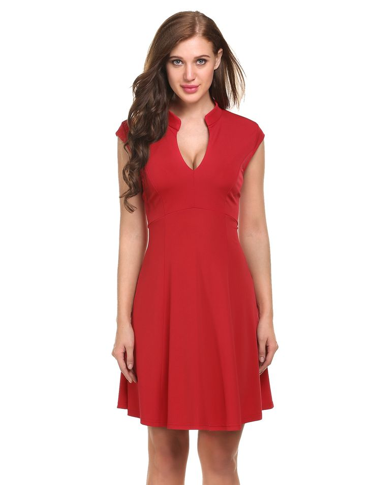 Pink Cap Sleeve V-neck Solid Casual Party Slim Mini Pleated Dress