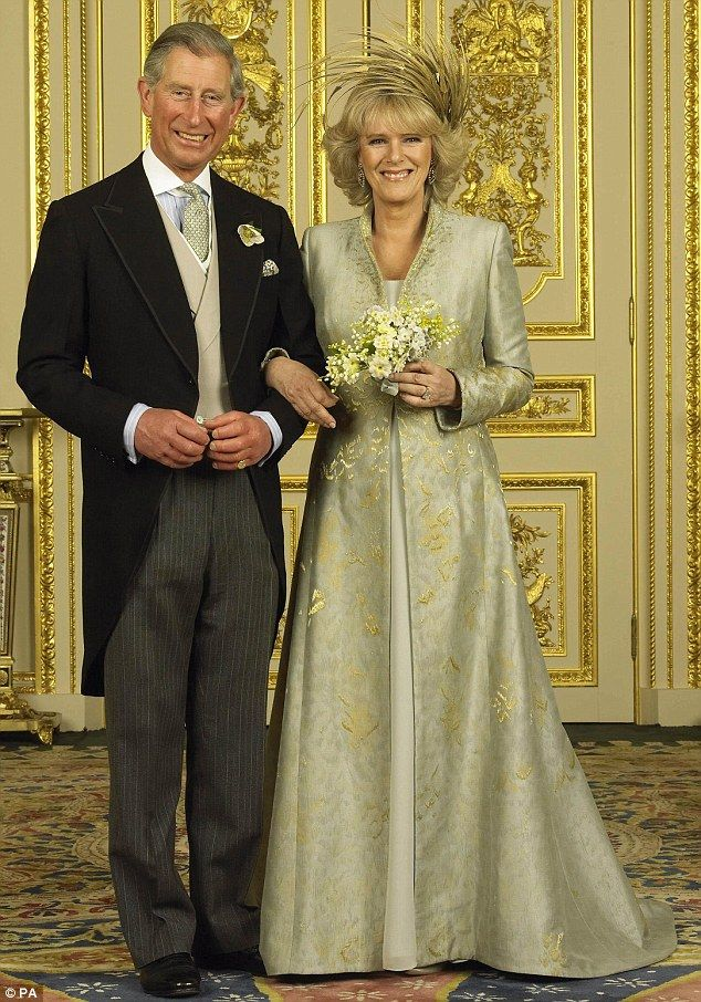 Wedding day: Prince Charles and the Duchess of Cornwall pictured after the ceremony on Apr...