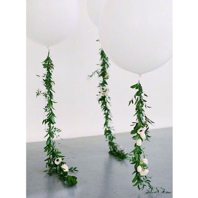 Gorgeous DIY foliage and floral balloons garlands by @apartment_34 . Love this idea!