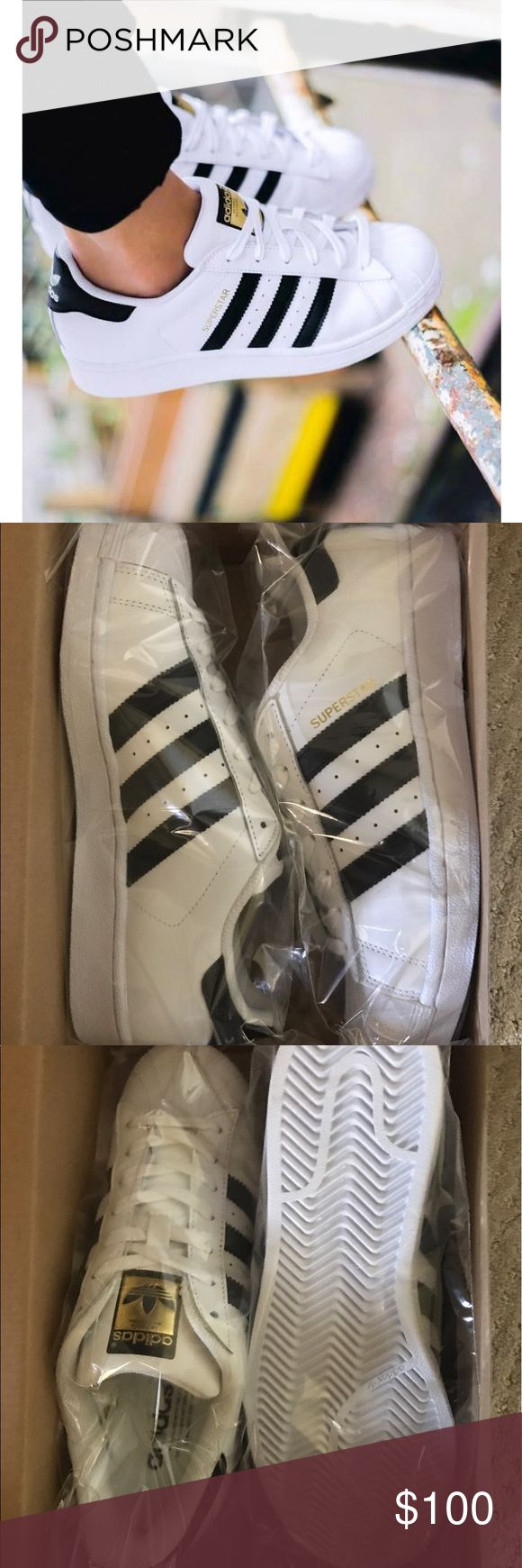 Adidas superstar sneakers Brand new in packaging, women's size 8, most recommend to go a half or full size up so this would fit those who are an 8.5 or 9 the best adidas Shoes Sneakers