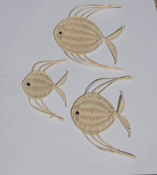 Vintage Wicker Fish Set of 3 Wall Hanging Nautical Decor Fish Family - LuluandGandore