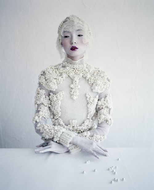 Xiao Wen Ju in Givenchy Haute Couture by Ricardo Tisci S/S 2012 by Tim Walker for W Magazine March 2012