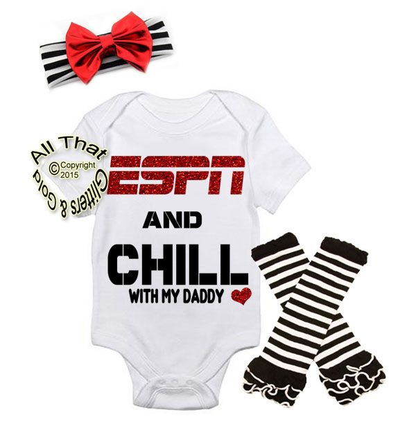 Save 30% USE Coupon Code PINTEREST Black and Red ESPN and Chill With My Daddy Baby Girl Outfit. This is an exclusive and original design by All That Glitters & Gold!Are you looking for something really cute and unique for your little one to come home from the hospital in or do you know someone who is expecting and want to get them to the cutest Father's Day or baby shower gift possible? If so, our Black and Red glitter ESPN and Chill with My Daddy  baby girl outfit is the perfect item.