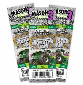 """Monster Jam Grave Digger Ticket Style Birthday Invitations - Planning your child's birthday party can be so much fun! It can also be stressful and frustrating...finding products to match, going store to store, etc. Let Amy'sCardCreations make it EASY for you to wow your guests. I'll create your personalized invitations, thank you notes, party favors & decor to match your theme & specifications. """"Create your own Party Pack"""" Discount Coupon Code to save 15%"""