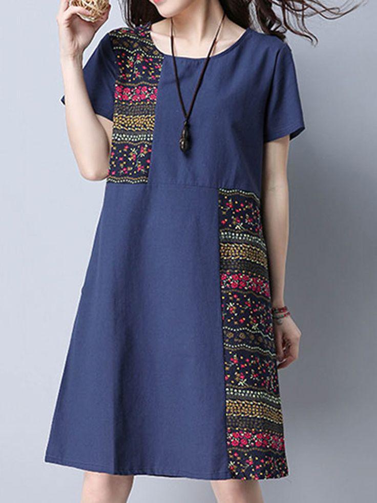 Cute idea for a color-block dress!  Vintage Floral Patchwork Pocket Short Sleeve Women Dresses
