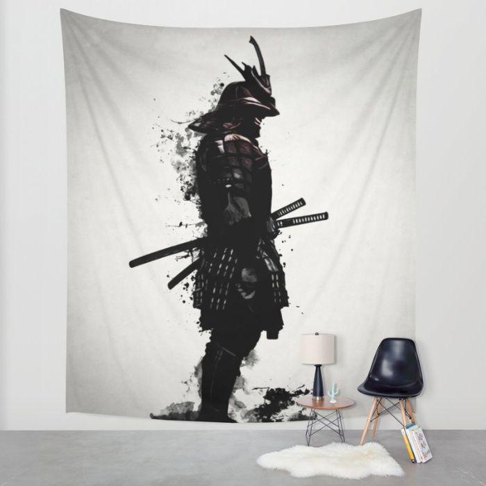 #samurai #warrior #sword #katana #japan #japanese #spatter #dark #inkspatter #digital #illustration #walltapestry #tapestry #homedecor #wallart