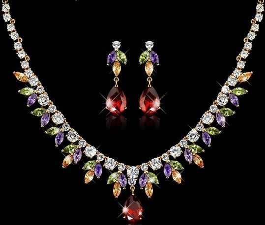 Jewelry Necklace Crystal Wedding Set Fashion Women Pendant Earrings 18K GP New #Unbranded