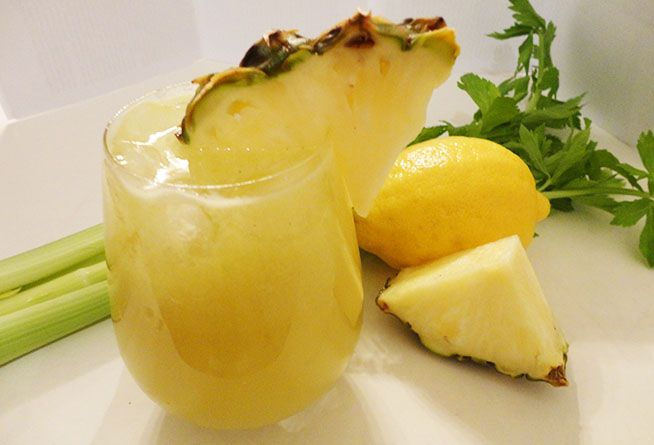 1/4 of a large pineapple (about 2 cups of chopped pineapple) 2 celery stalks 1 lemon 1 lime Piece of ginger root, 1 in./2.5 cm.