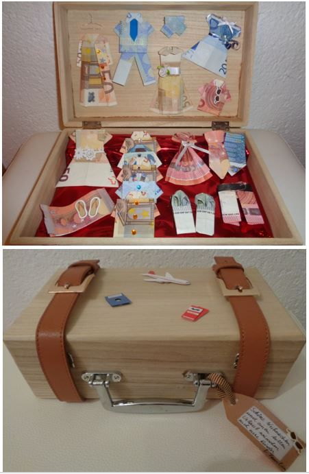 Suitcase and clothes money gift. Clothes shaped money inside. Great idea for wedding present or holiday money gift.
