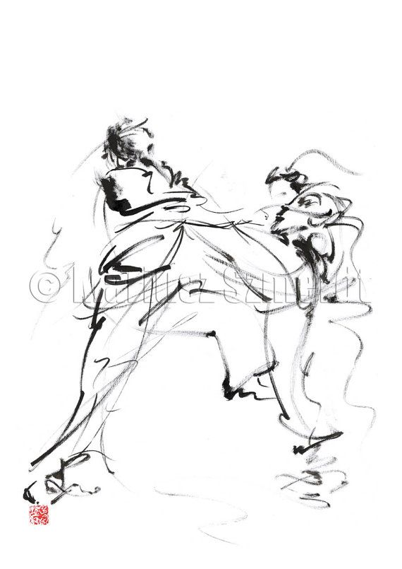 KARATE Martial Arts kyokushinkai Man Men Fight GICLEE fine art print of watercolor ink PAINTING