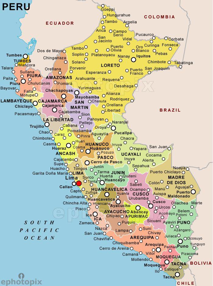 peru map with cities Peru Political map peru Peru